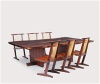 minguren dining table (+ conoid chairs; 7 works) by mira nakashima-yarnall