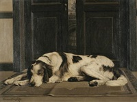 portrait of a sleeping setter by charles lennox-wright