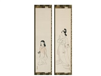 japanese beauties (pair) by ikeda shoen