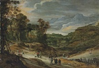 a wooded landscape with cottages, figures picking apples, mountains beyond by philips de momper the younger