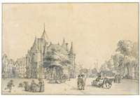 view of the nieuwmarkt, amsterdam by reinier vinkeles