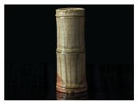 a bamboo vase by rosanjin kitaoji