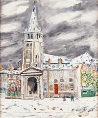 paris, l'église saint-germain-des-près sous la neige by élisée maclet