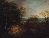 a wooded landscape with a peasant and dog, a village beyond by thomas gainsborough