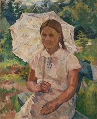 girl with a parasol by aristarkh vasilevich lentulov