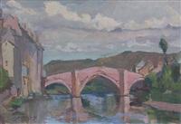 paysage au pont by nikolai sokolov