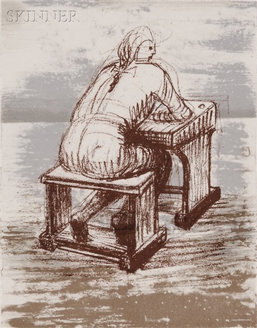 girl seated at desk iii by henry moore