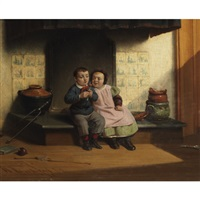 children with a tasty morsel by johannes christoffel vaarberg