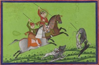 maharana ari singh hunting boar by anonymous-indian (19)