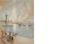 yacht at port by james kay