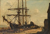 ship in a harbour by claude muncaster