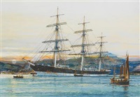the square-rigged australian clipper 'old kensington' lying on her mooring by jack spurling