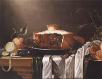 a pie on a silver dish with a partially peeled lemon, oranges and cobb nuts on a draped table by cornelis cruys