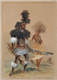 matabili warrior in dancing dress - and boy - nobengulus village by john thomas baines