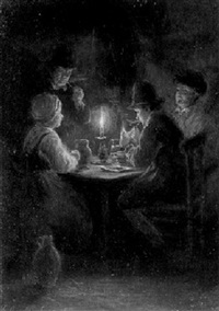 figures at a table by candlelight by gerrit arnoldus van merkesteijn