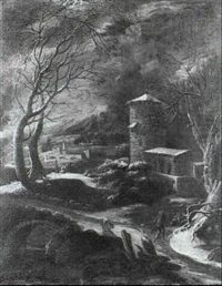 a winter landscape with a traveller approaching a tower by abraham beerstraten