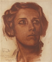 female portrait by alexander evgenievich iacovleff