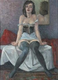 auf bett sitzender weiblicher halbakt by richard eberle