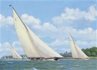 britannia, yankee and endeavour racing off cowes, with spectators on the foreshore by stephen j. renard