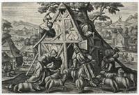 der schlechte hirte (from parabel des guten hirten) (after maarten de vos) by julius goltzius