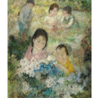 children picking flowers by le thi luu
