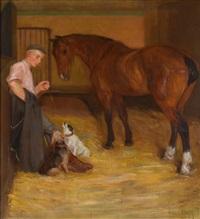 pferdestallinterieur mit stallburschen by leo von könig