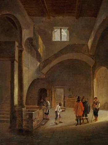 church interior with well by gerrit adriaensz berckheyde