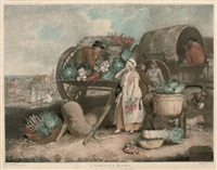 a poulty market (after james ward + a vegetable market; 2 works) by william ward