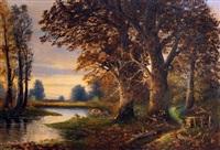 tranquil river scene by giovanni albrici