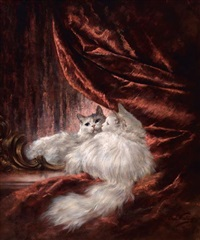 portrait of a white cat, seated before a mirror by carl kahler