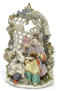 oriental couple seated in an arbor by peter reinicke