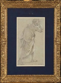 etude d'une figure drapée et etude d'un homme nu (recto-verso) by luigi garzi