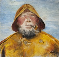 fisherman with pipe by christian krohg