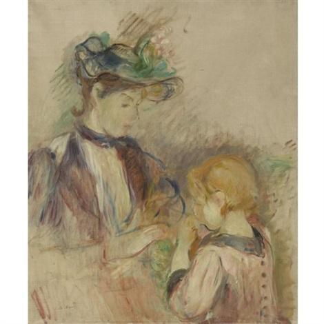 jeune femme et enfant avenue du bois by berthe morisot