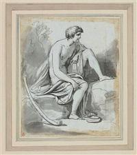 disegno di figura in cinque punti: pastore con bastone by carlo labruzzi