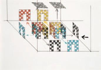 deux cabanes avec explosion des cloisons et plafonds avec quatre couleurs chacune sketch by daniel buren