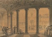 cour de la villa julia du pape jules iii à rome (collab. w/ pierre françois léonard fontaine) by charles percier