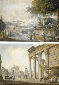 the garden of the villa doria pamphili (+ temple of antoninus and faustina; 2 works) by giovanni volpato