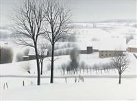 winterlandschaft bei arbussigny by claude sauthier