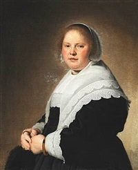 portrait of an elegant woman in a black dress with a white lace collar by johannes cornelisz verspronck