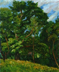 paysage aux grands arbres by paul-emile colin