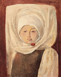 young girl with cherries by sever frentiu