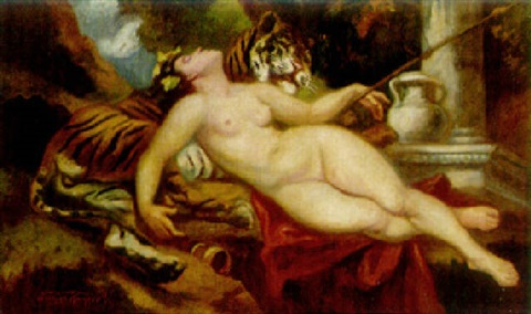 a bacchante reclining on a tiger by victor tardos krenner