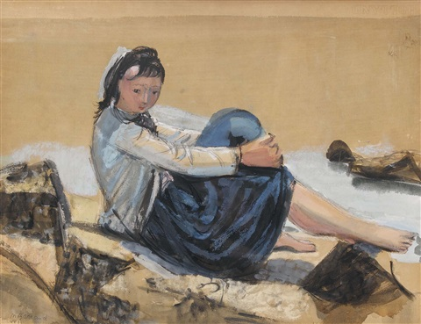 sitzende frau am strand by maurice barraud