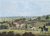 coursing: view on epsom downs; view on epsom race course; view of the warren, epsom; and view of lord arden's, epsom (4 works)(after john nost sartorius) by james pollard