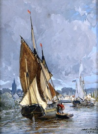 bateaux de pêche à l'entrée du port by jules achille noel