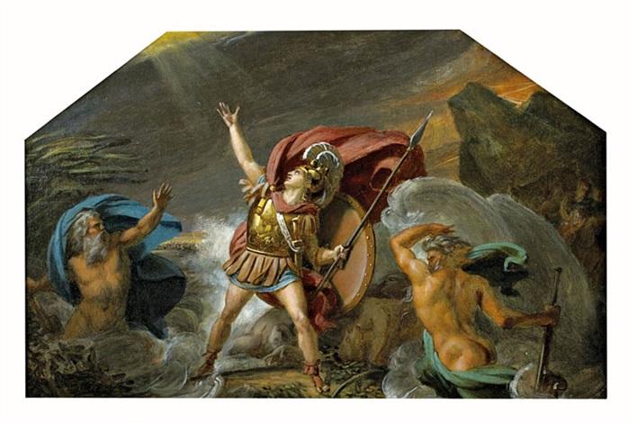 achille près dêtre englouti par le xanthe et le simoïs allégorie de leau by louis charles auguste couder