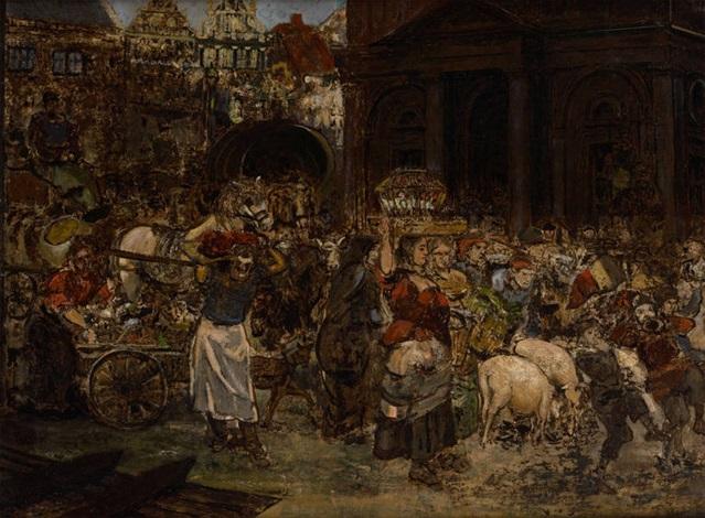 marché aux cochons à bruxelles by xavier mellery
