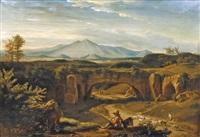 paysage napolitain animé de paysans et vue sur le vésuve by jean charles joseph remond