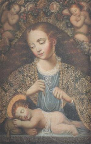 virgen con el niño y ángeles by peruvian school 19